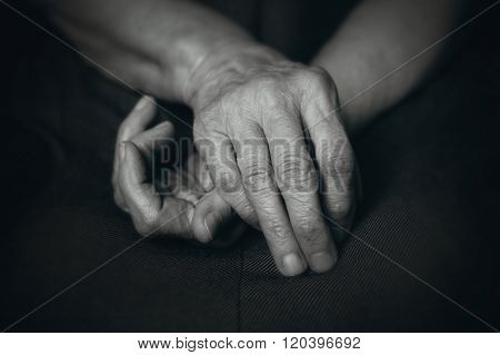 Old Hands Of Elderly Man