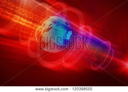 Abstract Digital World Background In Deep Space
