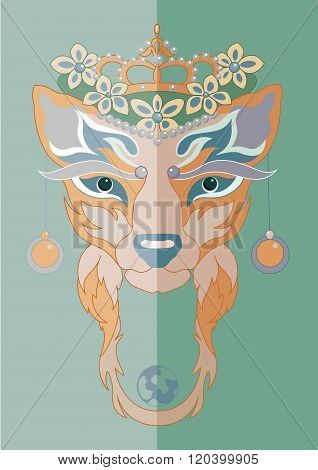 Vector illustration of flat decorative fox in crown