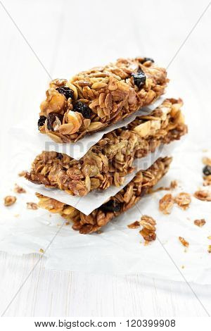 Granola Bars On White Wooden Table
