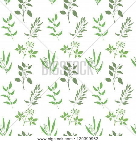 Seamless plant background. Endless pattern with green twigs and leaves silhouette. Vector illustrati