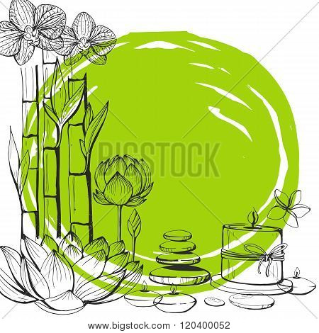 Set of vector hand drawn elements spa