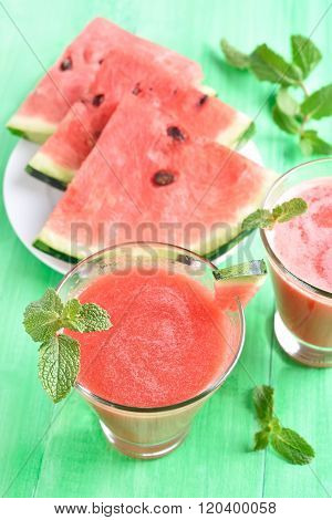 Watermelon Juice In Glass And Slice