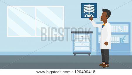 Doctor examining radiograph.