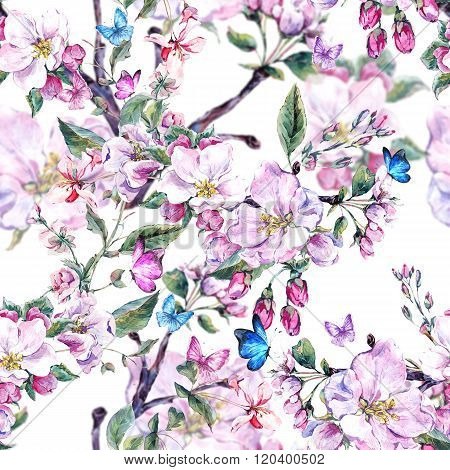Watercolor spring seamless background with pink flowers blooming