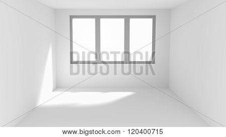 Empty White Room With Sun Spot On Wall And Floor