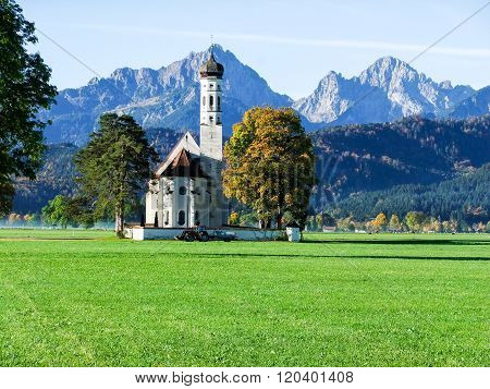 Grand Church With Large Mountain Background