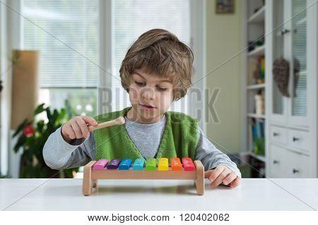 Little Boy Playing Xylohone