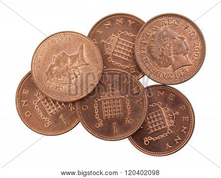 Penny Coins Isolated, Selective Focus