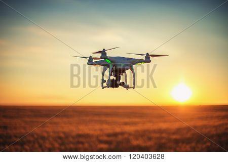 Varna Bulgaria - June 23 2015: Flying drone quadcopter Dji Phantom 2 with digital camera GoPro HERO4