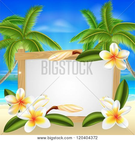 Beach Frangipani Beach Summer Sign