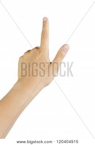 female teen left hand touch gesture