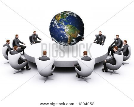 Businessman Sitting Around Table
