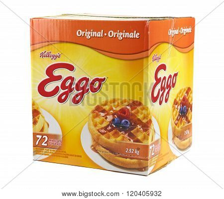 MONTREAL CANADA - MARCH 3 2016 - Kellogg's box of brand Homestyle Eggo waffles. Developed at Battle Creek Sanitarium in Michigan by Dr. John Kellogg in 1894.