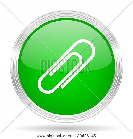 paperclip green modern design web glossy icon