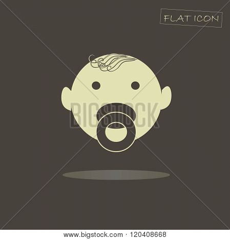 Flat baby icon. Light baby on dark background. Icon vector. Baby icon object. Baby icon picture.  Ba