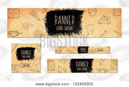 Web Banners For Websites 4 Different Sizes In Retro Style Hand Drawn. Medicine, Pharmaceuticals, Res