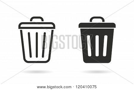 Bin vector icon. Black illustration isolated on white background for graphic and web design.