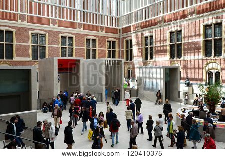 Amsterdam, Netherlands - May 6, 2015: Tourists In The Modern Atrium Rijksmuseum In Amsterdam