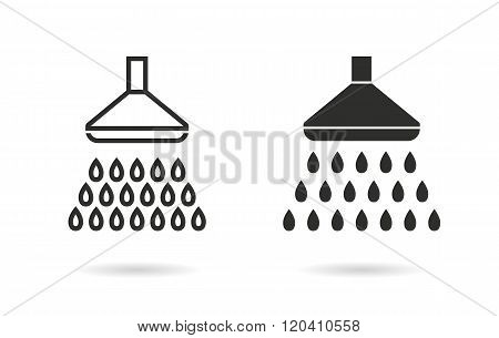 Shower vector icon. Black illustration isolated on white background for graphic and web design.