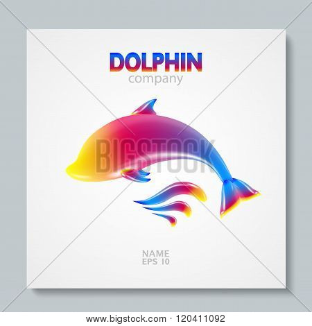 Luxury image logo Rainbow Dolphin. To design postcards, brochures, banners, logos, creative projects