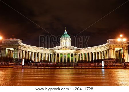 Night view of historical classicism style building in Saint Petersburg.