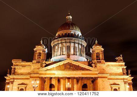 Night view of Saint Isaac's Cathedral in Saint Petersburg. Landmark of Russia.