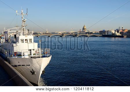 General View On Saint-petersburg Embankment And A White Ship