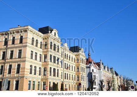 Historical art nouveau building facade in Riga, Latvia