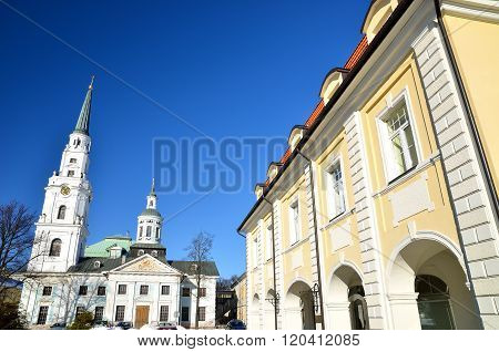View of historical centre of Riga with white lutheran church and classicism style buildings