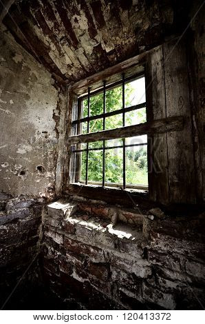 Window in an old broken house. Post apocalyptic abandoned room.