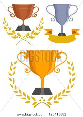Illustration of Trophies with Laurel Leaves and a Ribbon