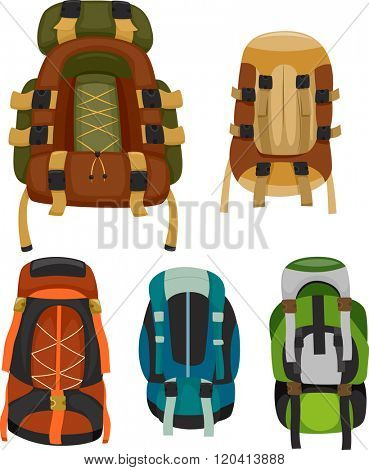 Illustration of Colorful Camping Backpacks