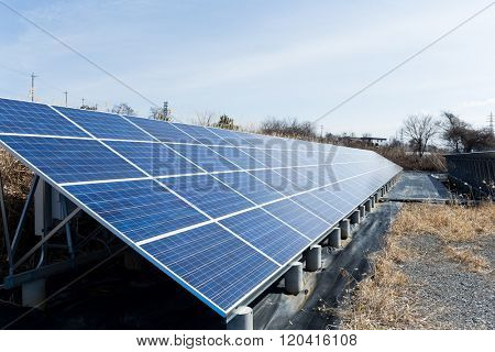 Solar panel in country side for generator electricity