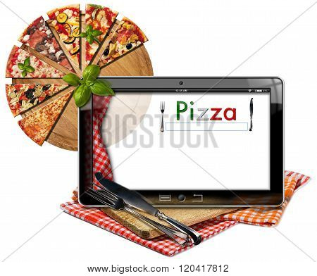 Pizza Menu In The Tablet Computer