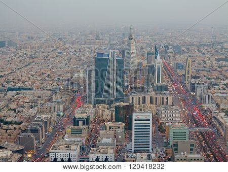 RIYADH - FEBRUARY 29: Aerial view of Riyadh downtown on February 29, 2016 in Riyadh, Saudi Arabia.