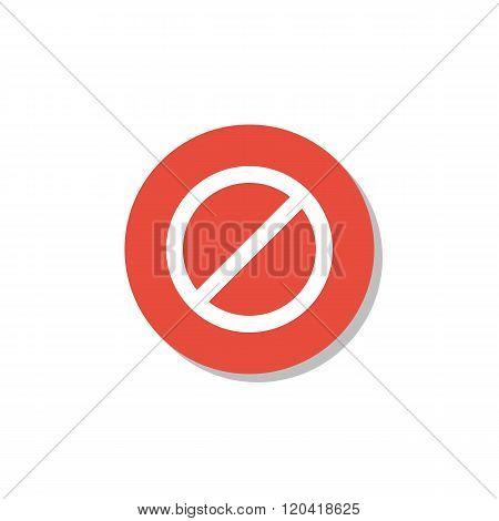 No Entry Icon, On White Background, Red Circle Border, White Outline