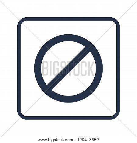 No Entry Icon, On White Background, Rounded Rectangle Border, Blue Outline