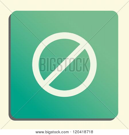 No Entry Icon, On Button Style Green Background, Yellow Light, Shadow