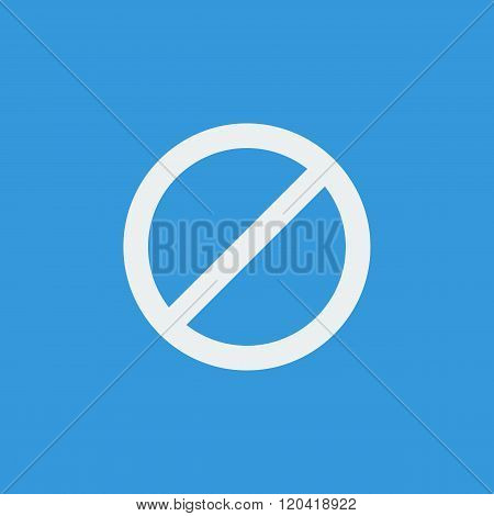 No Entry Icon, On Blue Background, White Outline, Large Size Symbol