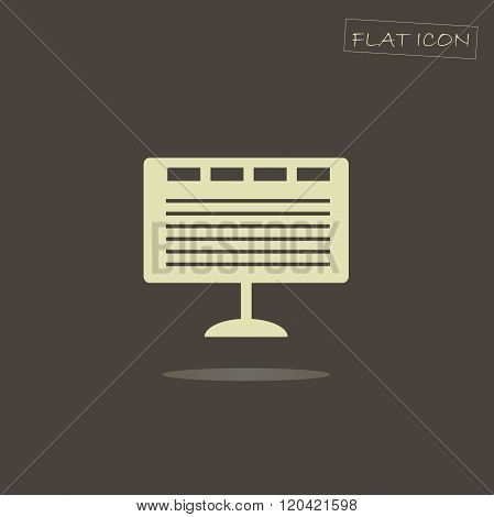 Flat icon of a monitor. Light monitor on a dark background