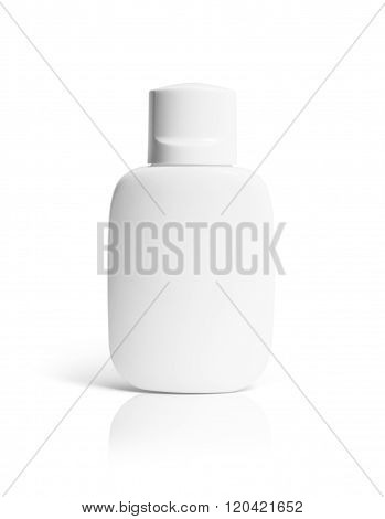 White Bottle Of Aftershave Balsam On A White Background