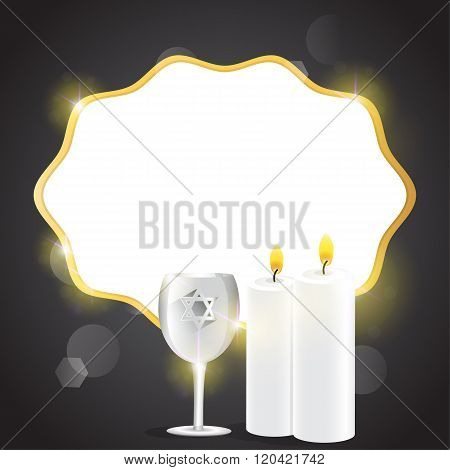 Illustration Of Candles And Kiddush Cup With Copy Space.
