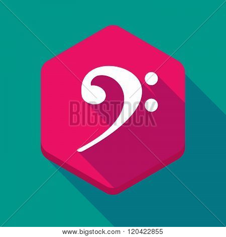 Long Shadow Hexagon Icon With An F Clef