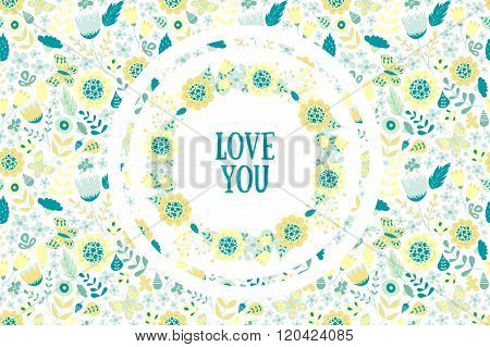 Floral background with wreath inside.