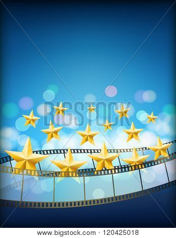 cinema blue background with filmstrips and golden flying stars. vertical abstract vector background