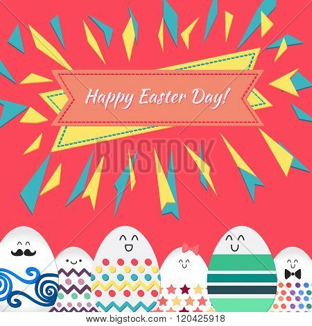 Happy Easter With Happy Eggs