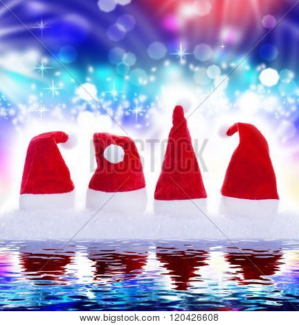 Christmas Hats, Mirror Image, Background, Blue