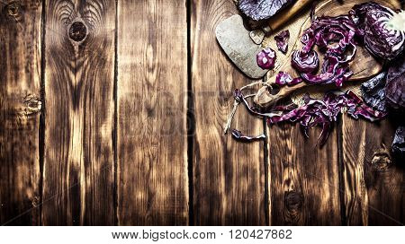 Fresh Cabbage Chopped. On Wooden Background.