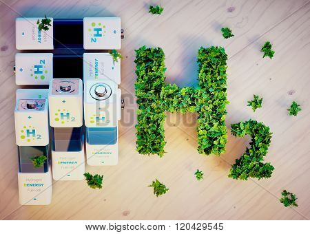 Hydrogen energy concept on wooden background. 3D illustration.